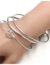 Fashion Silver Color Knotted Peach Heart Round Head Open Alloy Multilayer Bracelet