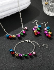 Fashion Color Mixing Bell Pendant Alloy Contrast Color Bracelet Necklace Earrings