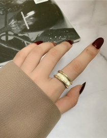 Fashion Gold Color Coloren Geometric Metal Groove Open Ring