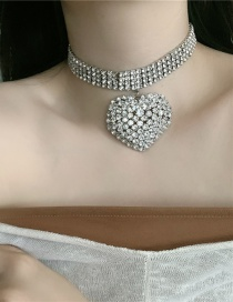 Fashion Silver Color Heart Diamond Alloy Wide Side Necklace