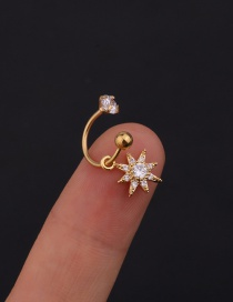 Fashion 12# 8mm Gold Color Color Stainless Steel Geometric C-shaped Flower Micro-inlaid Zircon Earrings (1 Price)