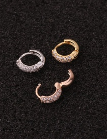 Fashion 5# Rose Gold Color Color Love Micro-inlaid Zircon Geometric Stainless Steel Earrings (1 Price)