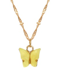 Fashion Yellow Acrylic Butterfly Pendant Alloy Necklace