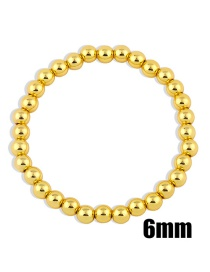 Fashion Gold Color 6mm Handmade Beaded Round Bead Copper Gold-plated Stretch Bracelet