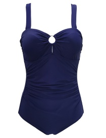 Fashion Blue Solid Color Sling Cutout Triangle One-piece Swimsuit