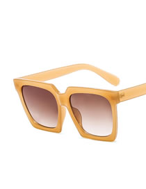 Fashion Jelly Apricot Double Tea Large Frame Square Resin Gradient Sunglasses