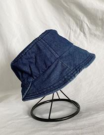 Fashion Dark Blue Denim Stitching Solid Color Fisherman Hat