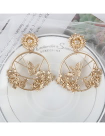 Fashion Gold Color Daisy Butterfly Pearl Matte Alloy Earrings