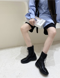 Fashion Black Soft Leather Breathable Front Lace-up Martin Boots