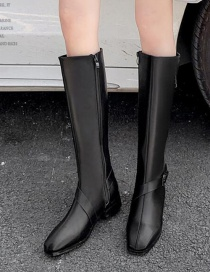 Fashion Black Stitched Belt Buckle Pointed Toe High Knight Boots