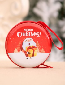 Fashion Gift Package For The Elderly Santa Print Round Christmas Coin Purse