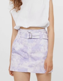 Fashion Color Tie-dye Print Skirt With Belt