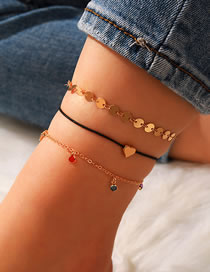 Fashion Color Mixing Diamond Disc Heart Shaped Anklet Set
