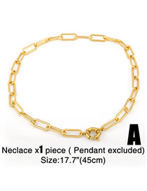 Fashion Chain A (without Letters) Thick Chain Geometric Hollow Copper Gold-plated Necklace