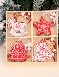 Fashion Trojan Horse Five-star Tree Bell Type Elk Five-pointed Star Wooden Christmas Pendant