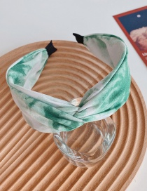 Fashion Green Cross-knotted Ink Tie-dye Broad-brimmed Headband In The Middle