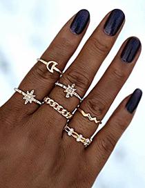 Fashion Golden Alloy Diamond Starburst Hollow Moon Ripple Ring Set