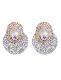 Fashion Silver Color Rhinestone Geometric Round Alloy Earrings