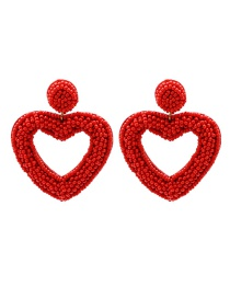 Fashion Red Rice Beads Love Beaded Hollow Earrings