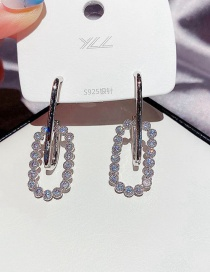 Fashion Platinum Plated Copper Inlaid Zircon Geometric Earrings