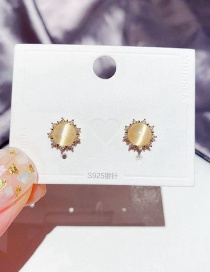 Fashion Real Gold Color Plated Micro-inlaid Zircon Small Sun Opal Earrings