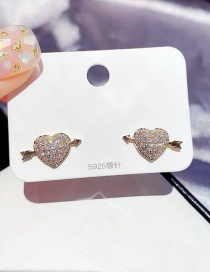 Fashion Real Gold Color Plated Cupids Arrow Heart Earrings