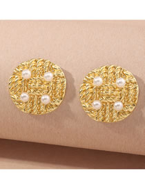 Fashion Gold Color Color Round Braided Alloy Earrings With Pearls