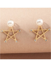 Fashion Gold Color Color Pearl Five-pointed Star Hollow Diamond Earrings