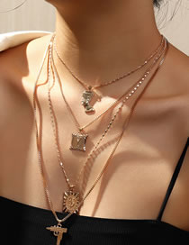 Fashion Gold Color Color Dollar Head Gun Alloy Geometric Multilayer Necklace