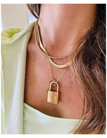 Fashion Gold Color Color Lock Key Snake Bone Chain Alloy Multilayer Necklace
