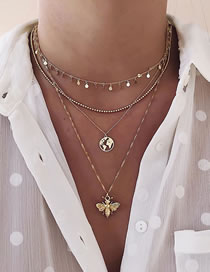 Fashion Gold Color Color Round Piece Bee World Map Alloy Multilayer Necklace