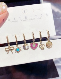 Fashion Real Gold Plated Smiley Bowknot Crown Love Earring Set