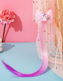 Fashion Pink Bow Butterfly Animal Contrast Color Childrens Wig Braids
