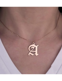 Fashion Rose Gold Color Colora Stainless Steel Ancient English Letter Hollow Necklace