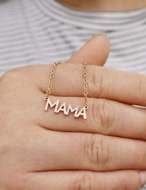 Fashion Rose Gold Letter Stainless Steel Pendant Hollow Necklace