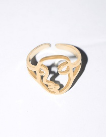 Fashion Gold Color Abstract Face Contour Alloy Open Ring