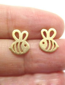 Fashion Gold Color Bee Alloy Plating Flat Hollow Earrings