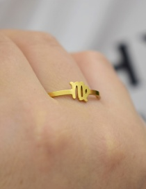 Fashion Gold Color Virgo Constellation Hollow Stainless Steel Opening Adjustable Ring