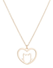Fashion Gold Color Cat Love Hollow Stainless Steel Pendant Necklace