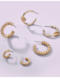Fashion Gold Color Alloy Knotted Twisted Rope Geometric Earrings Set