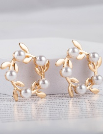 Fashion Gold Color Wreath Pearl Alloy Earrings
