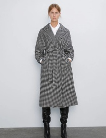 Fashion Black And White Houndstooth Belted Coat Coat