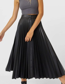 Fashion Black Buttoned Pleated Elastic Waist Skirt