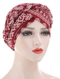 Fashion Wine Red Braided Milk Silk Flower Print Geometric Turban Hat