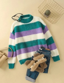 Fashion Green Striped Mohair Knitted Pullover Sweater