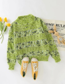 Fashion Green Round Neck Knitted Pullover Sweater