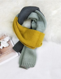 Fashion Gray Light Green Stitching Contrast Knitted Wool Scarf