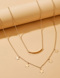 Fashion Golden Five-pointed Star Smiley Face Alloy Double Necklace