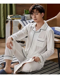 Fashion White Coral Fleece Pajamas Men's Long-sleeved Cardigan Home Service Suit