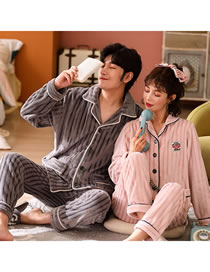 Fashion Ash Powder (male Style) Cardigan Coral Fleece Couple Pajamas Home Service Suit